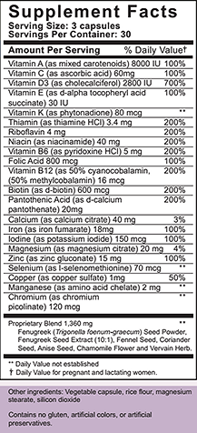 Nursing Blend Supplement Facts